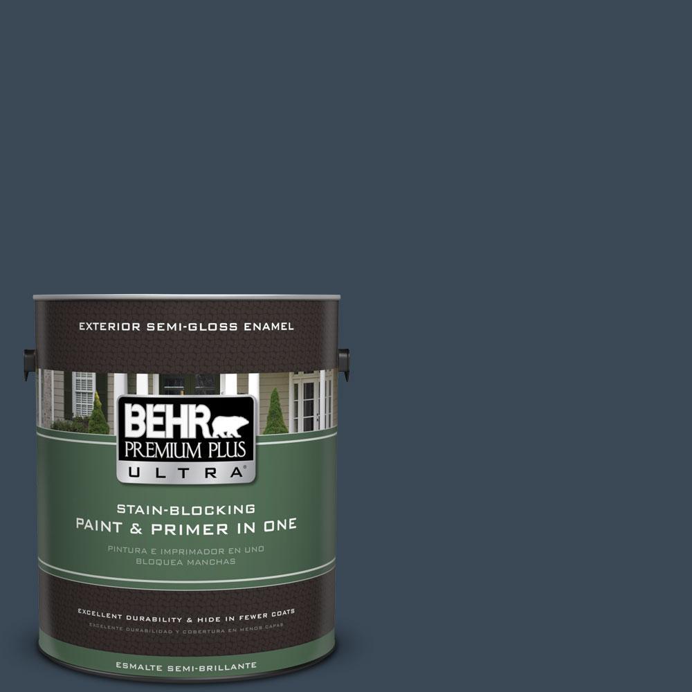 BEHR Premium Plus Ultra 1-gal. #PPF-58 Dark Night Semi-Gloss Enamel Exterior Paint