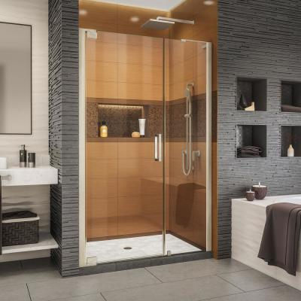 Elegance-LS 51-3/4 in. to 53-3/4 in. W x 72 in. H Frameless Pivot Shower Door in Brushed Nickel