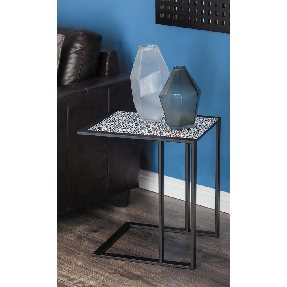 Modern L Shaped Lattice Side Table In Black