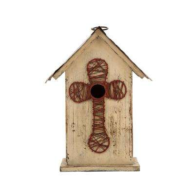 11.02 in. H Distressed Solid Wood Birdhouse with Cross