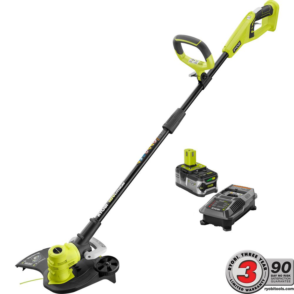 Ryobi ONE+ 18-Volt Lithium-Ion Cordless String Trimmer/Edger - 4.0 Ah Battery and Charger Included