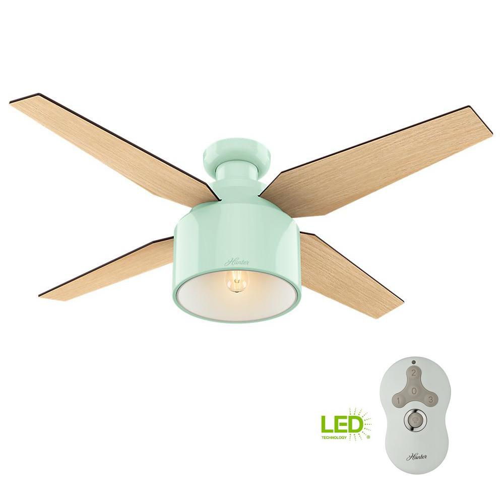 ultra low profile ceiling fan bedroom led low profile indoor mint ceiling fan hunter haskell 42 in fresh white