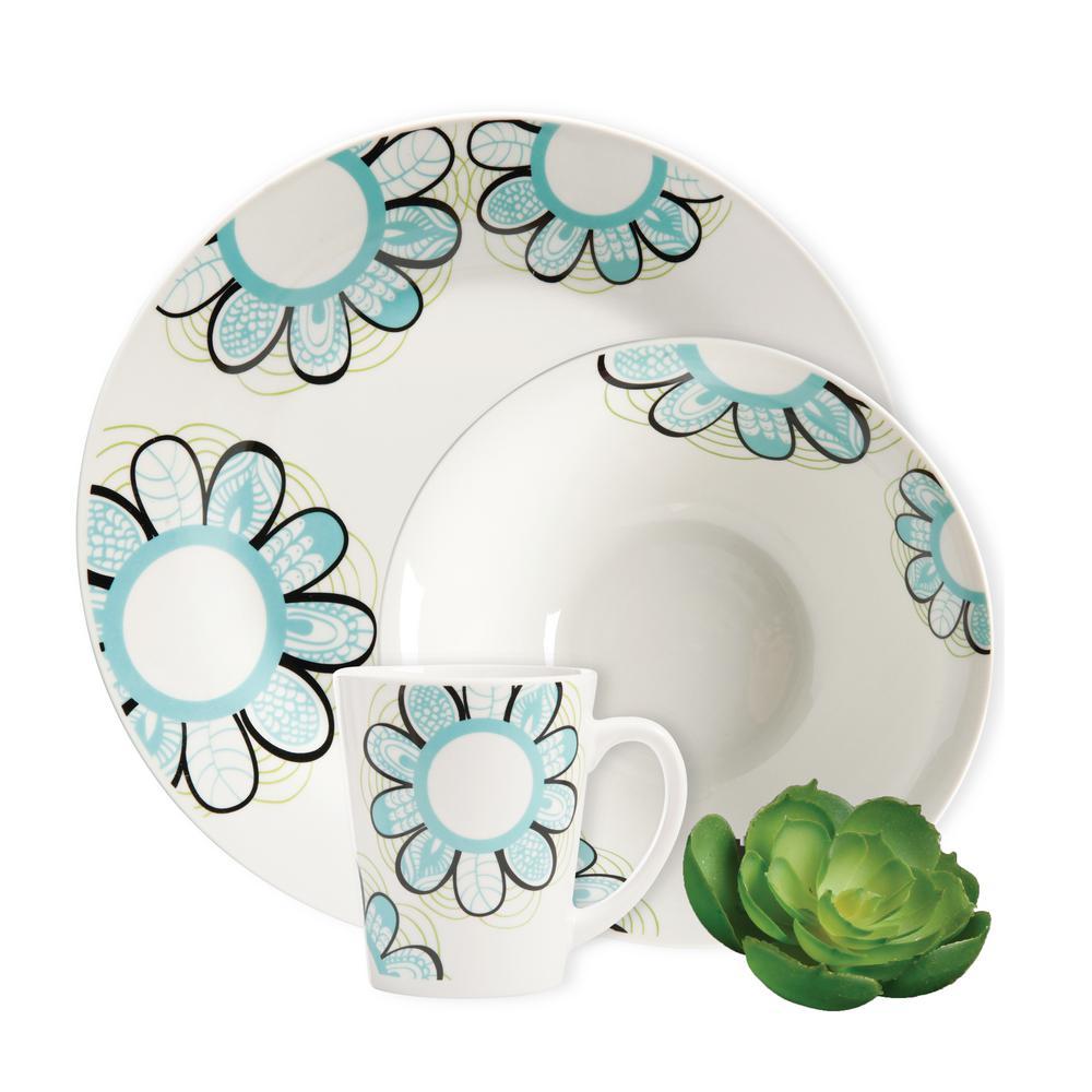 Lush Blossom 12-Piece White Decorated Dinnerware Set