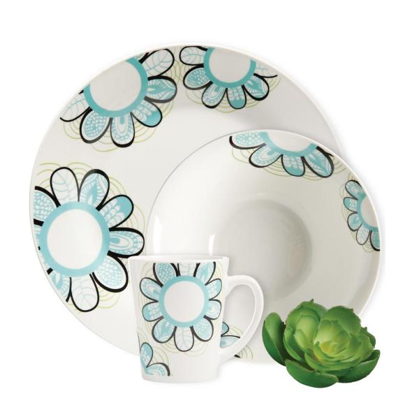 Gibson Home Lush Blossom 12-Piece White Decorated Dinnerware Set 102276.12RM