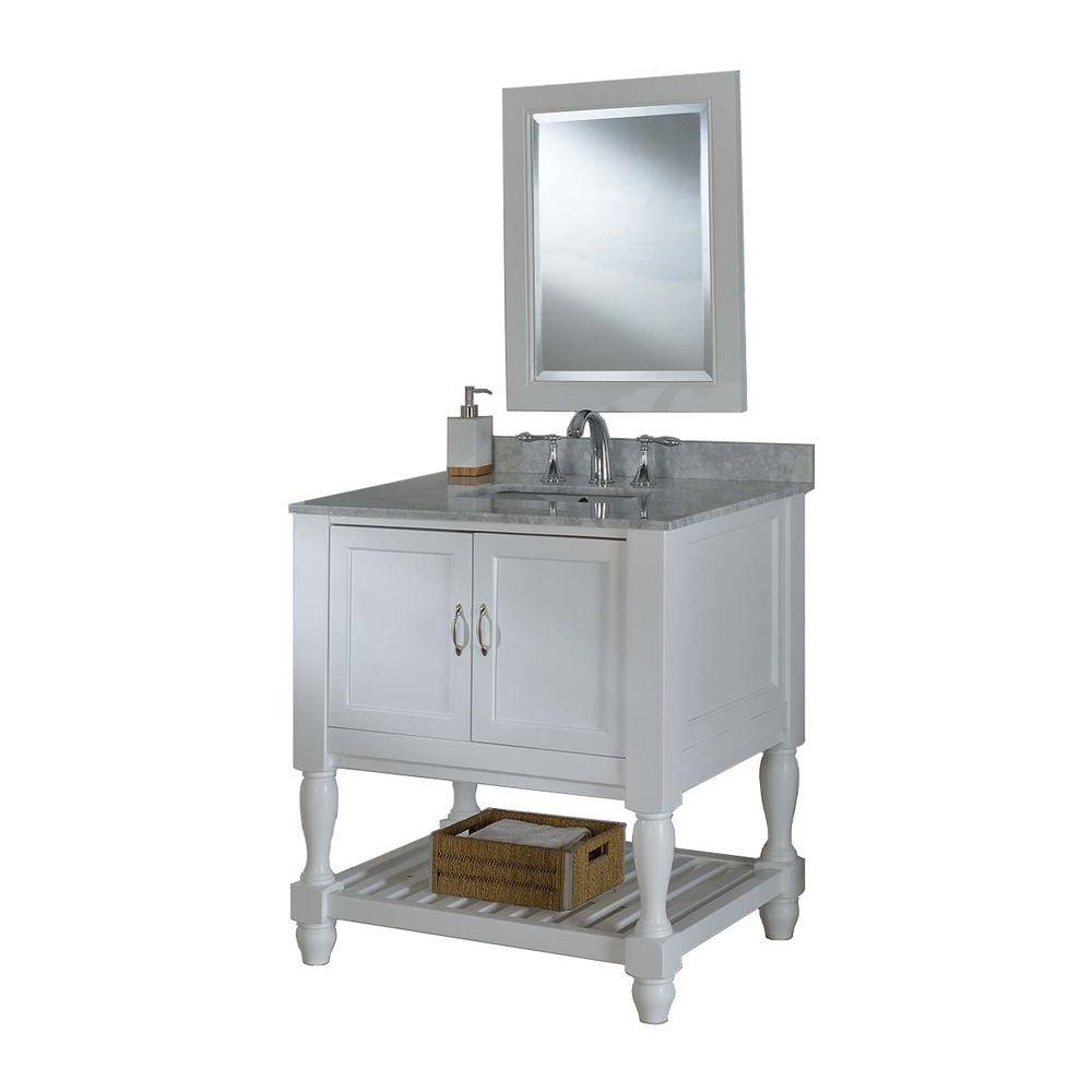 Direct vanity sink Mission Turnleg Spa 32 in. Vanity in Pearl White with Marble Vanity Top in Carrara White and Mirror