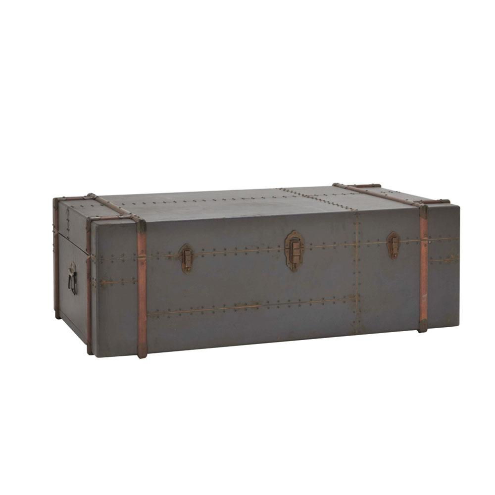 Gray Wood And Metal Steamer Trunk Coffee Table