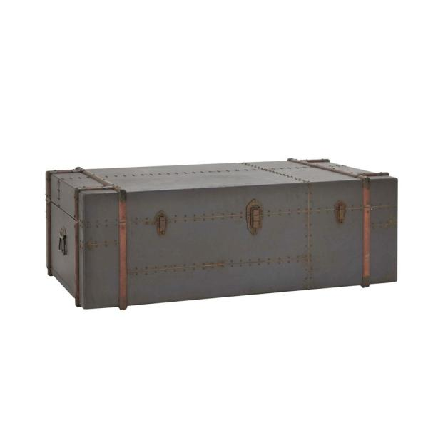 Wood Storage Trunk Coffee Table.Gray Wood And Metal Steamer Trunk Coffee Table