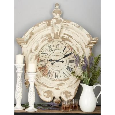 44 in. x 34 in. Vintage Reproduction Brown Round Wall Clock