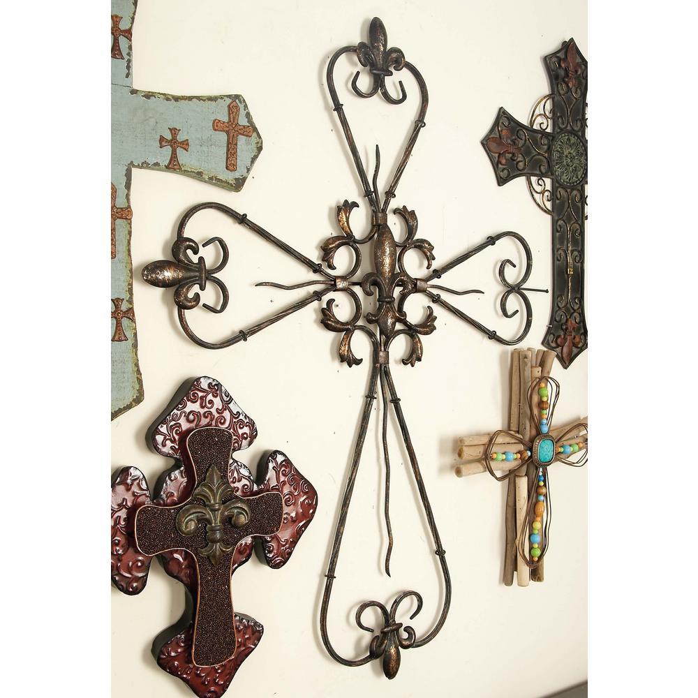 26 inch x 36 inch Rustic Elegance Bronze-Finished Iron Fleur de Lis Cross Wall Decor by