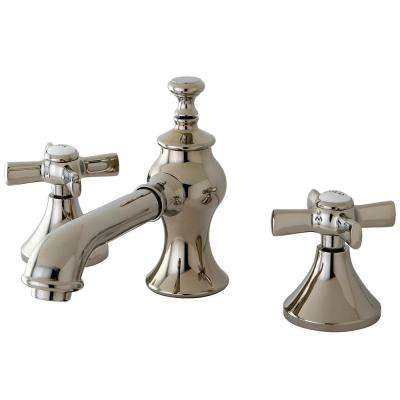 Modern Cross 8 in. Widespread 2-Handle Mid-Arc Bathroom Faucet in Polished Nickel