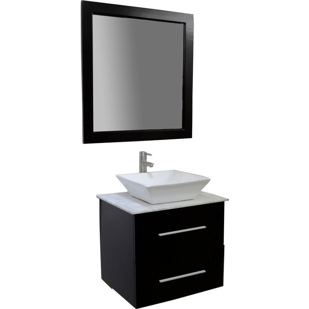 KBD Designs Amanda 24 in. Vanity in Espresso with Marble Vanity Top in White Carrara and Mirror