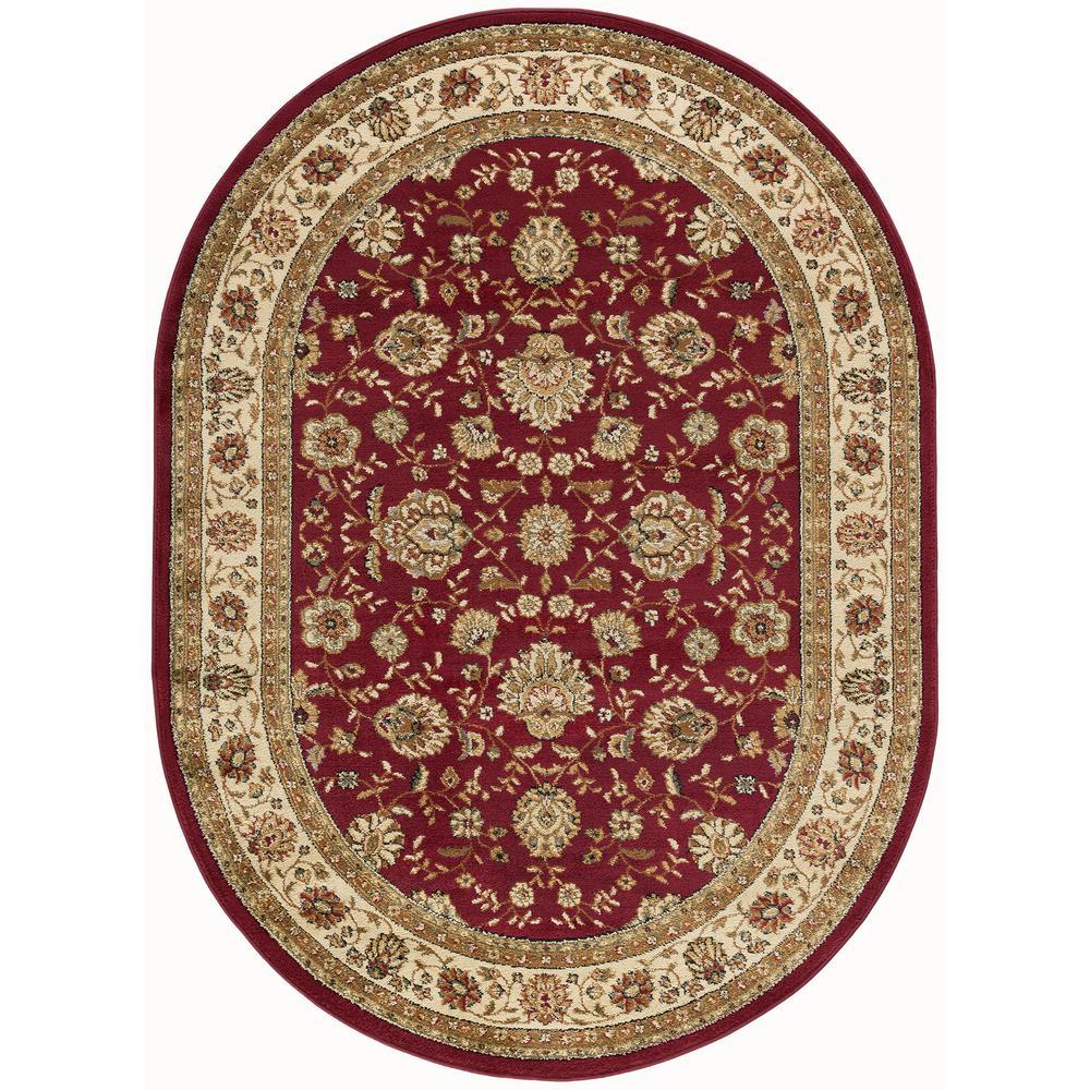 Elegance Red 5 ft. x 7 ft. Oval Indoor Area Rug