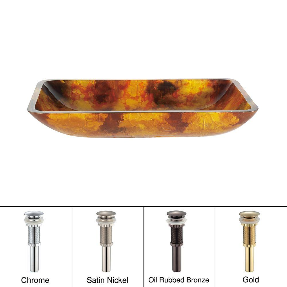 KRAUS Glass Vessel Sink in Amber with Oil Rubbed Bronze Pop up-DISCONTINUED
