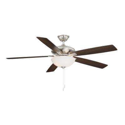 Abbeywood 60 in. LED Brushed Nickel Ceiling Fan With Light Kit