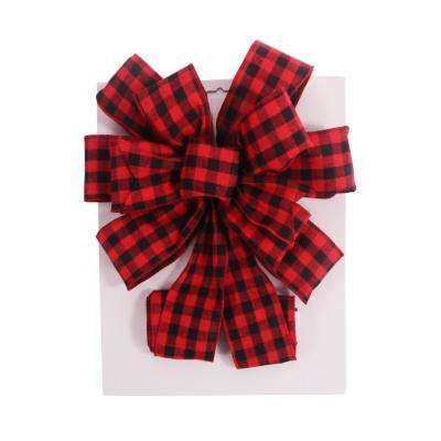 Burlap/PVC 11 in. x 31 in. Christmas Tree Topper Bow -Red Holiday Plaid