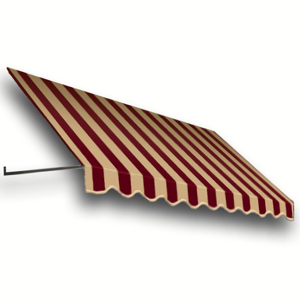 AWNTECH 7 ft. Dallas Retro Window/Entry Awning (31 in. H x 24 in. D) in Burgundy/Tan Stripe