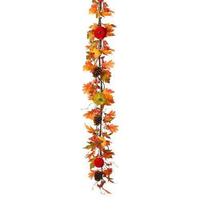5 ft. Harvest Garland with Velvet Pumpkins and Pinecone and Berry Accents