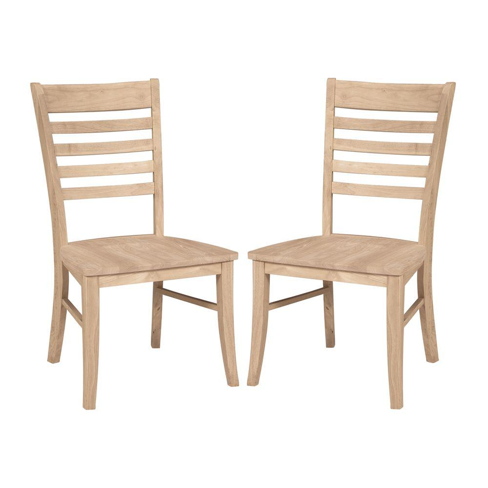 International Concepts Roma Unfinished Wood Ladder Back Dining Chair Set Of 2 C 310p The