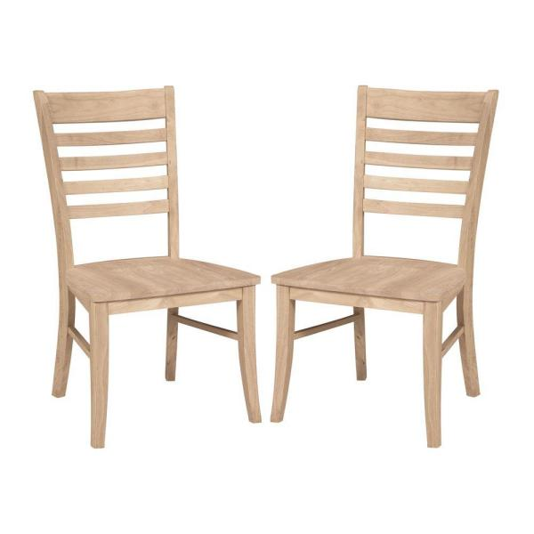 International Concepts Roma Unfinished Wood Ladder Back Dining Chair (Set of