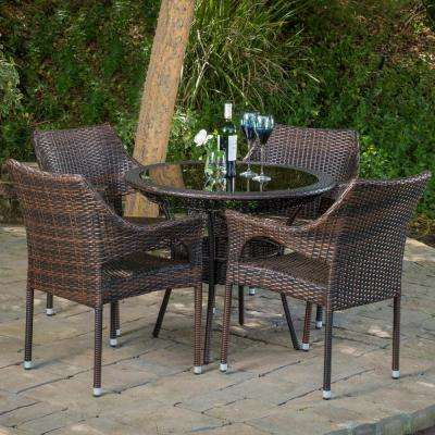 Mirage Multi-Brown 5-Piece Wicker Outdoor Bistro Set