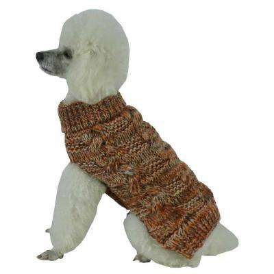 X-Small Light Brown and Tangerine and Grey Royal Bark Heavy Cable Knitted Designer Fashion Dog Sweater