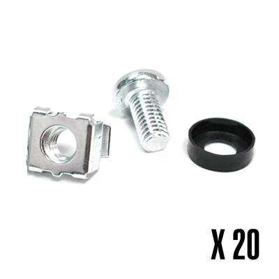 M6 Server Cage Nuts and Mounting Screws (20-Pack)