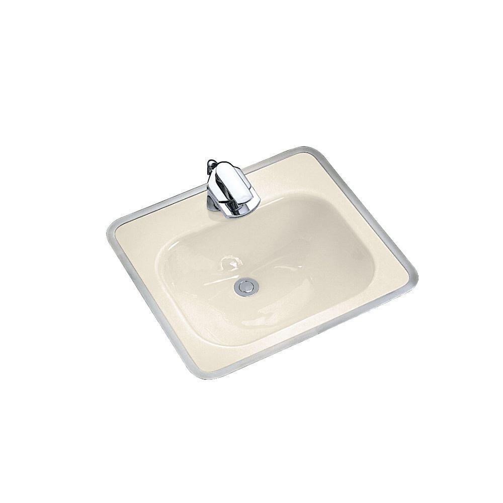 Kohler tahoe drop in cast iron bathroom sink in almond with overflow drain k 2890 4 47 the Kohler cast iron bathroom sink