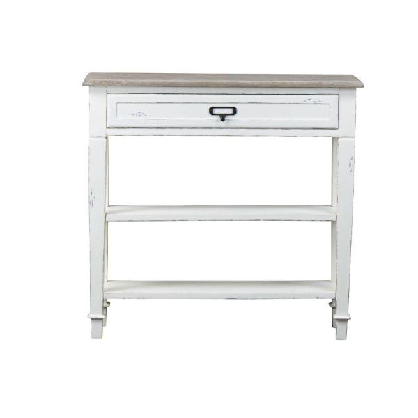 Baxton Studio Dauphine White and Light Brown Storage Console Table 28862-6028-HD