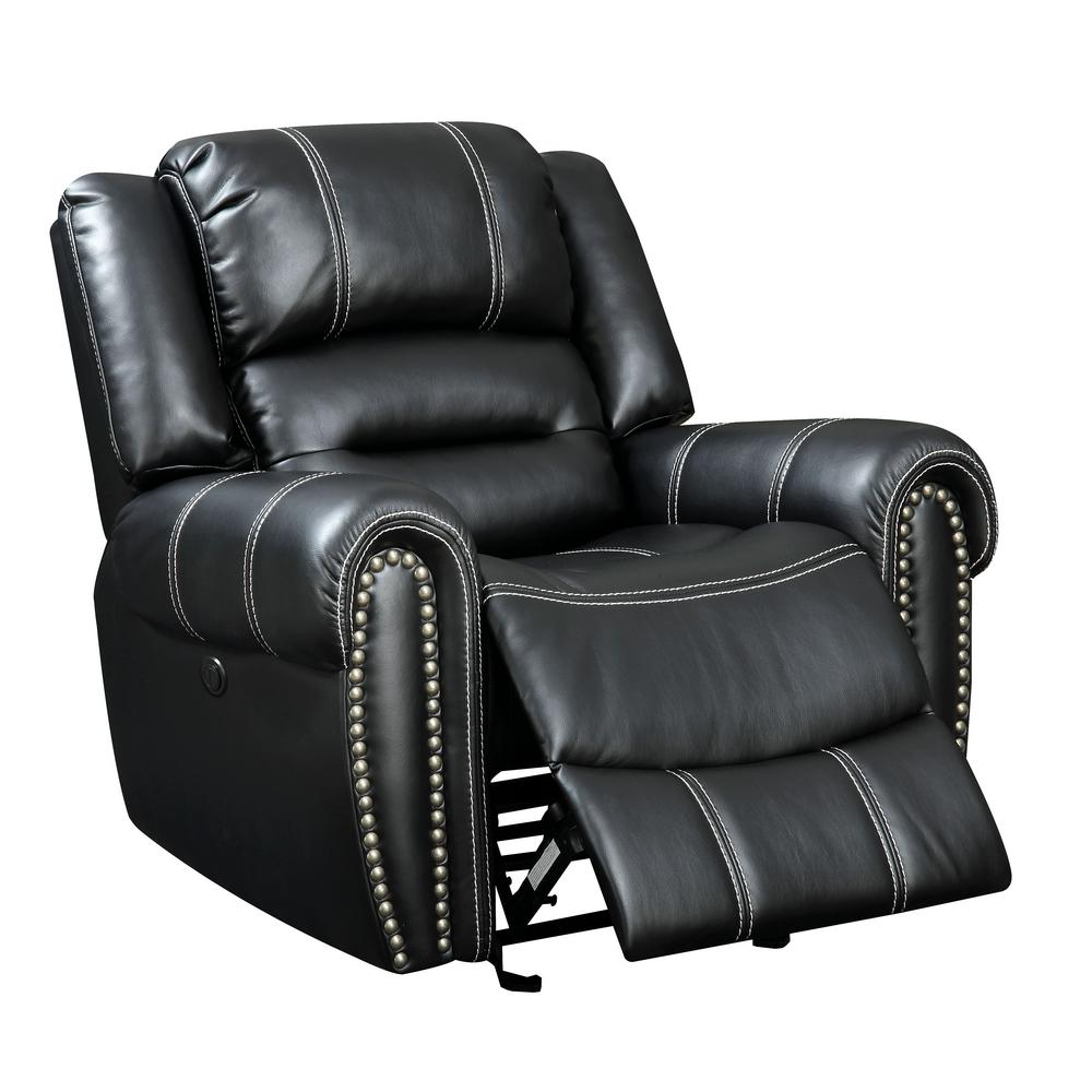 Talia Black Leatherette Power Assist Recliner Chair