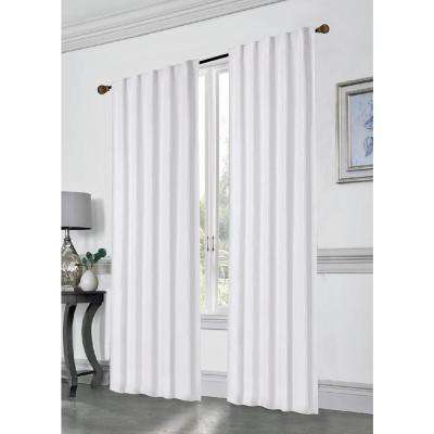 Stacy 84 in. L Polyester Double Layered Rod Pocket with Thermal Lining Window Curtain Panel Pair in White (2-Pack)