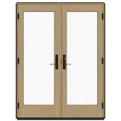60 in. x 80 in. W-4500 Dark Chocolate Prehung Left-Hand Inswing French Patio Door with Contemporary Frame