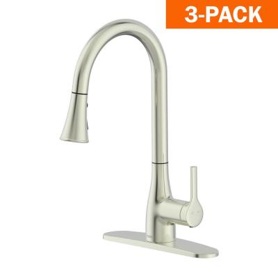 Classic Series Single-Handle Standard Kitchen Faucet in Brushed Nickel (3-Pack)