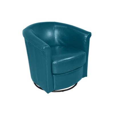 Marvel Teal Leather Look Barrel Back Swivel Chair