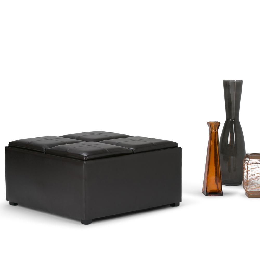 Simply Home Avalon Tanners Brown Storage Ottoman