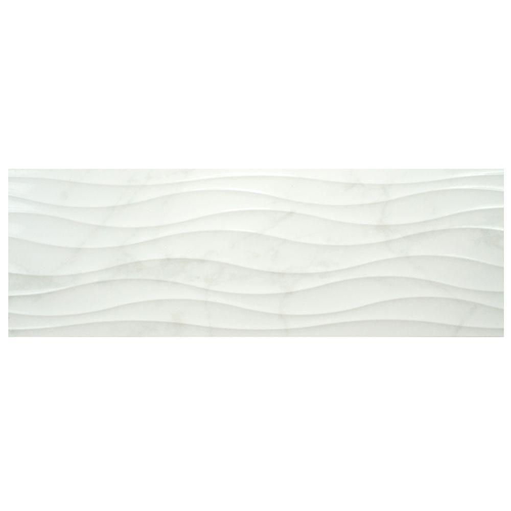 Merola Tile Ocean White 11-3/4 in. x 35-1/2 in. Ceramic Wall Tile (11.66 sq. ft. / case)