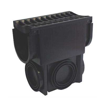 Easy Drain Series Black Slim Drainage Pit and Catch Basin for Modular Trench and Channel Drain Systems