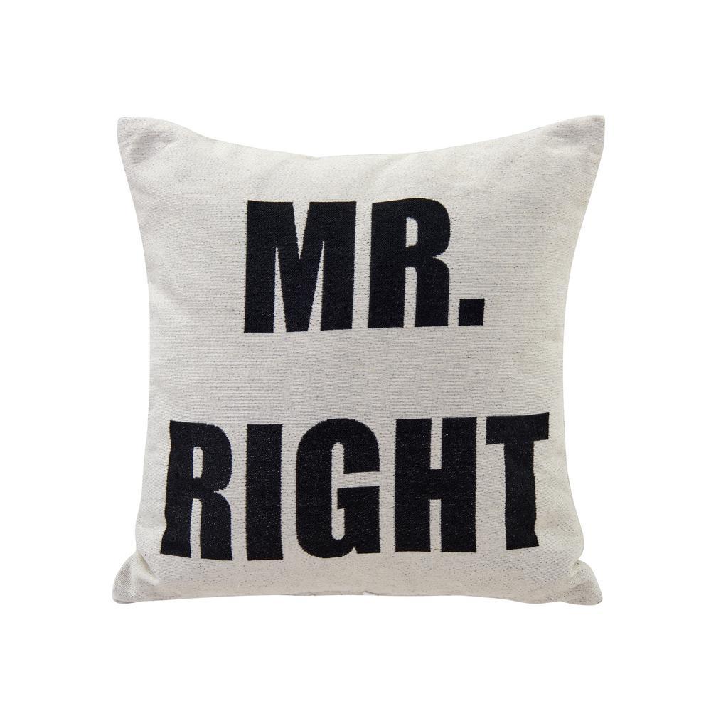 DanyaB DANYA B Mr. Right Ivory Geometric Polyester 17 in. x 17 in. Throw Pillow