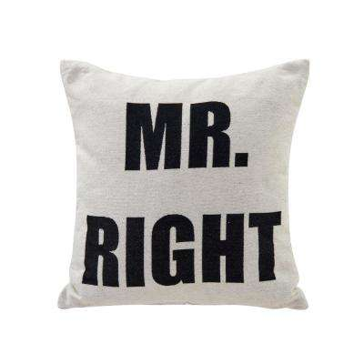 Mr Right Ivory and Black Decorative Pillow