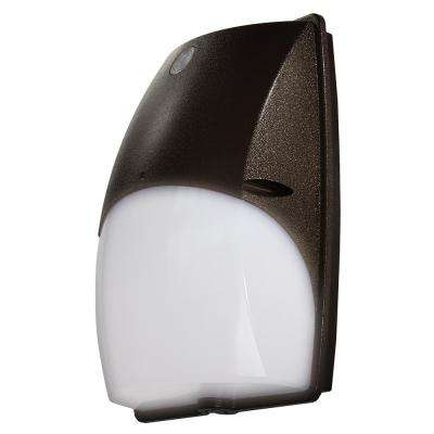 Slim-Profile Dusk to Dawn Dark Bronze Outdoor Integrated LED Wall Pack Light