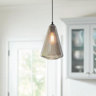 1-Light Iron Smoke Mini Pendant with Glass