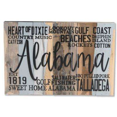 """Alabama Est 1819"" Reclaimed Wood Decorative Sign"