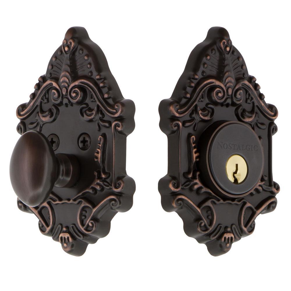 Victorian Plate 2-3/8 in. Backset Single Cylinder Deadbolt in Timeless Bronze