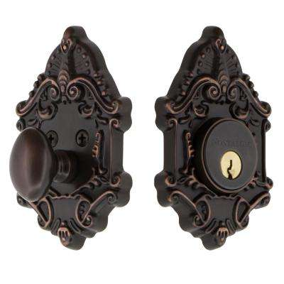 Victorian Plate 2-3/8 in. Backset Single Cylinder Deadbolt in Timeless Bronze