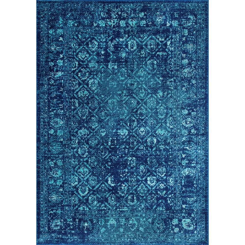 Herminia Vintage Trellis Blue 9 ft. x 12 ft. Area Rug