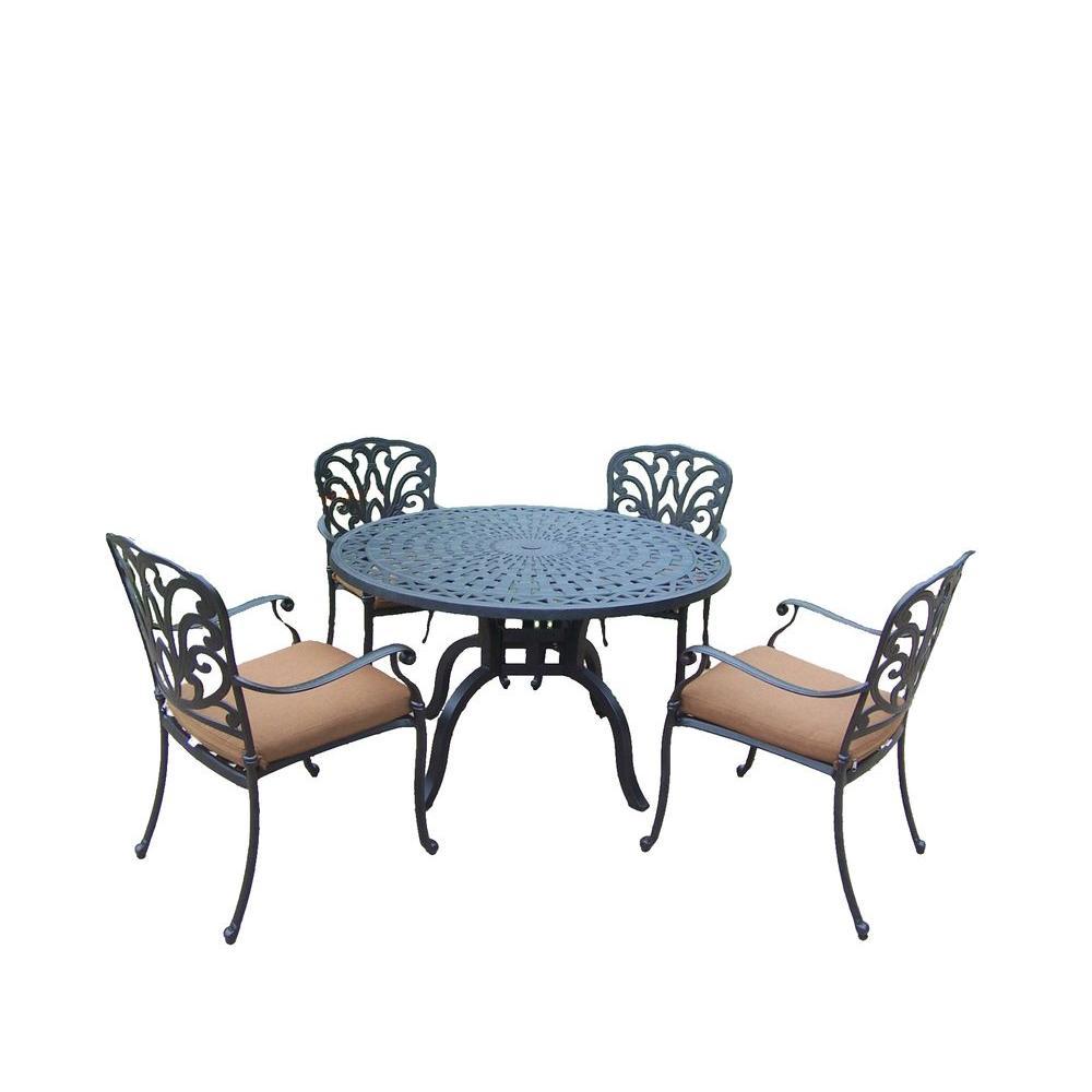 Hampton Cast Aluminum 5-Piece Round Patio Dining Set with Sunbrella Canvas Teak Cushions