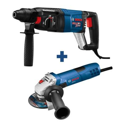 Bulldog Xtreme 8 Amp 1 in. Corded Variable Speed SDS-Plus Concrete Rotary Hammer Drill with Free 4-1/2 in. Angle Grinder