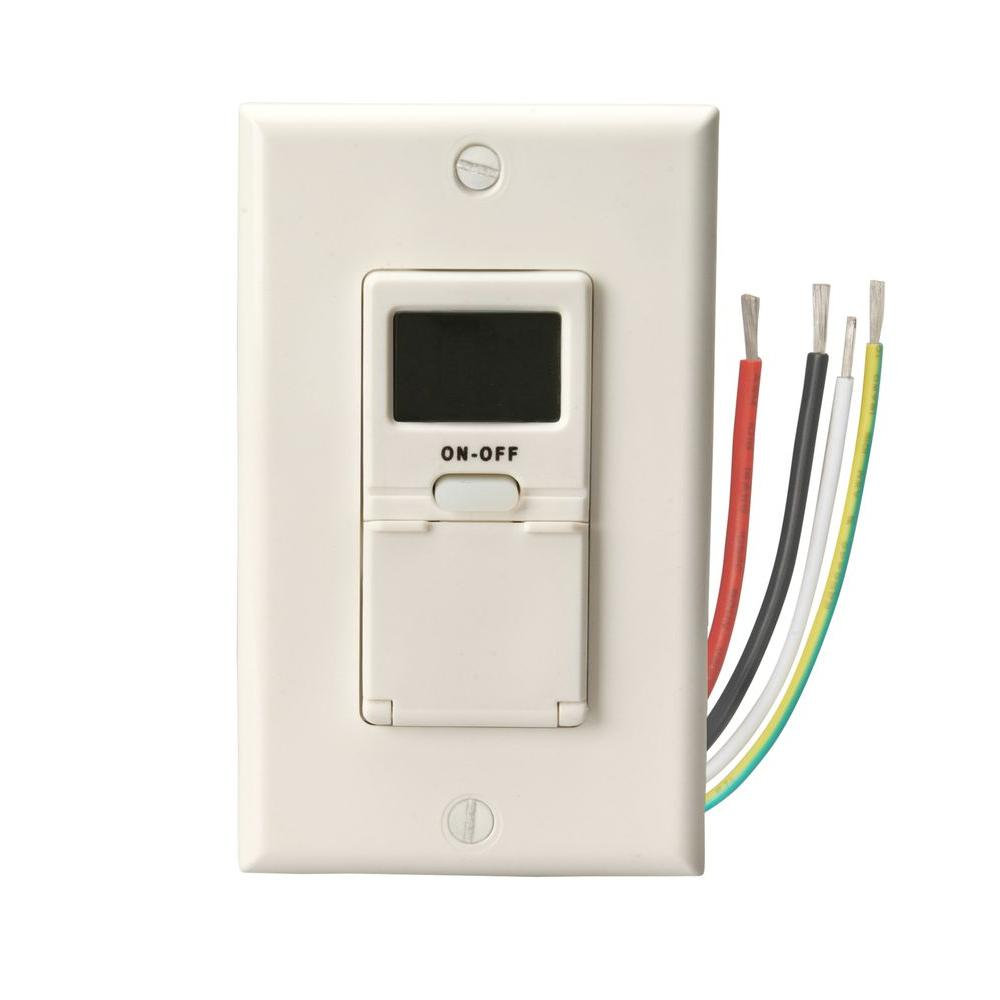 15-Amp 7-Day In-Wall Programmable Digital Timer Switch, W...