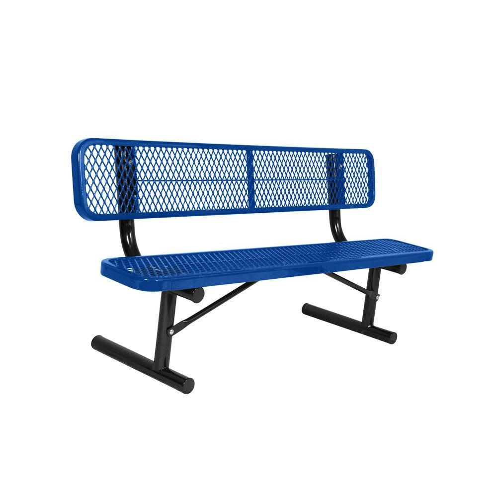 Portable 8 Ft Blue Diamond Commercial Park Bench