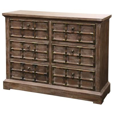 Rustic 6-Drawer with Brass Strap Accents Cabinet