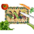 Caroline's Treasures Rooster Tempered Glass Cutting Board Large Heat Resistant